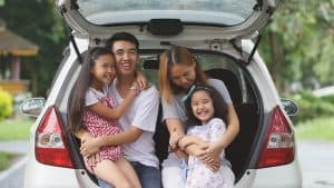 Asian family in car